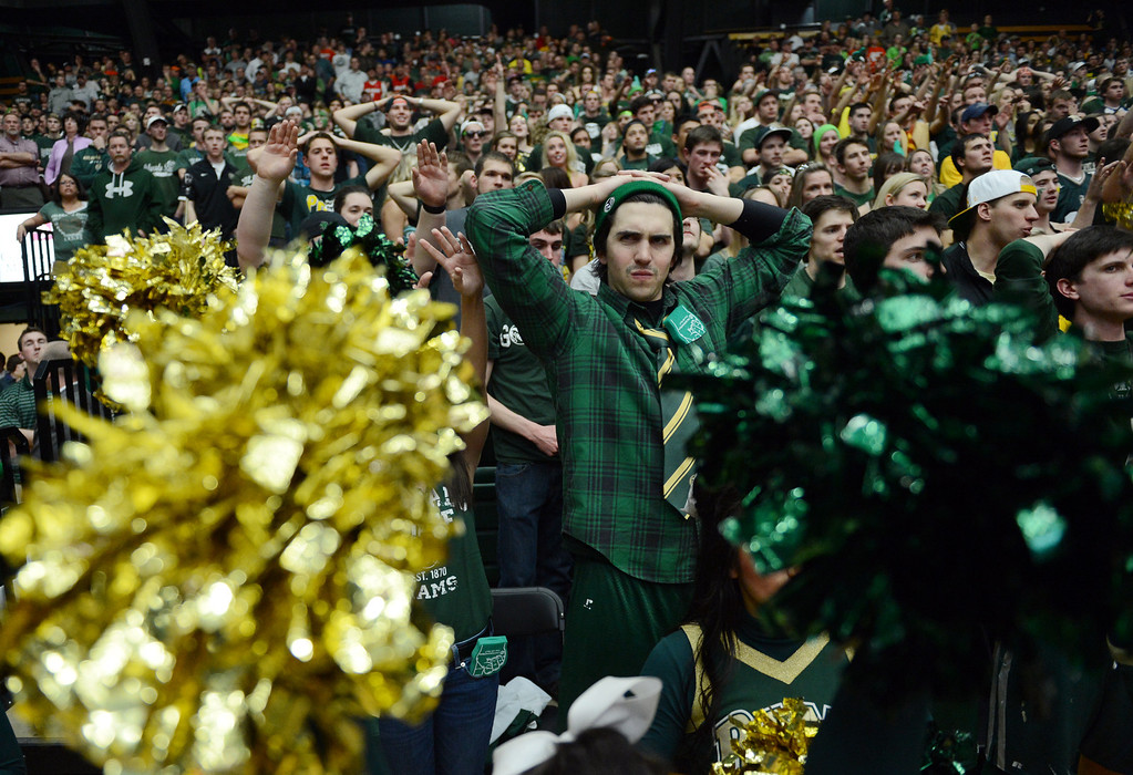 . Fort COLLINS, CO. - FEBRUARY 23: CSU students Ben Saccomano watches the end of the second half at Moby Arena in Fort Collin, CO February  24, 2013. The Colorado State Rams mens basketball team lost to the New Mexico Lobos, 82-91. (Photo By Craig F. Walker/The Denver Post)