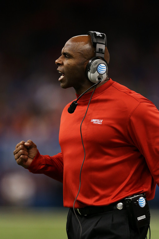 . Head coach Charlie Strong of the Louisville Cardinals reacts during the second quarter against the Florida Gators during the Allstate Sugar Bowl at Mercedes-Benz Superdome on January 2, 2013 in New Orleans, Louisiana.  (Photo by Matthew Stockman/Getty Images)
