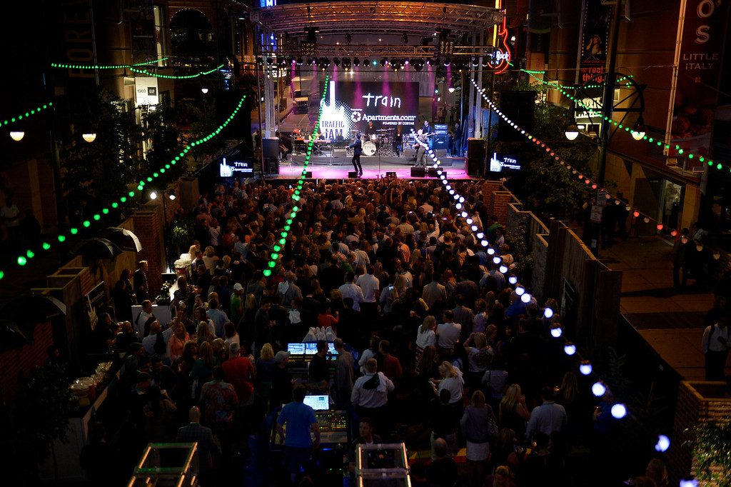 . Apartments.com got the party started with �Traffic Jam�  a performance by the American pop rock band Train on June 18, 2014 at the Hard Rock Cafe and Denver Pavilion. Apartments.com, the leading national apartment Internet listing service, will be in Denver for the National Apartment Association Convention taking place June 19 to 21.  Apartments.com is hosted the private VIP outdoor concert event featuring Grammy Award-winning rock band Train � the band known for contemporary pop hits such as �Drops of Jupiter,� �Calling All Angels� and �Hey, Soul Sister.� (Photo by John Leyba/The Denver Post)