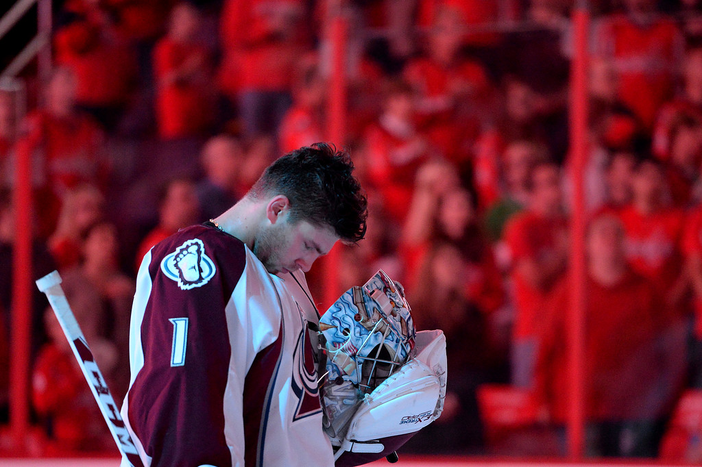. WASHINGTON, DC - OCTOBER 12: Semyon Varlamov #1 of the Colorado Avalanche has a moment to himself before playing the Washington Capitals at Verizon Center on October 12, 2013 in Washington, DC. (Photo by Patrick Smith/Getty Images)