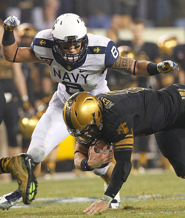 . Trent Steelman #8 of the Army Black Knights dives and fumbles the ball on the last play of his college career during a game against the Navy Midshipmen on December 8, 2012 at Lincoln Financial Field in Philadelphia, Pennsylvania. (Photo by Hunter Martin/Getty Images)
