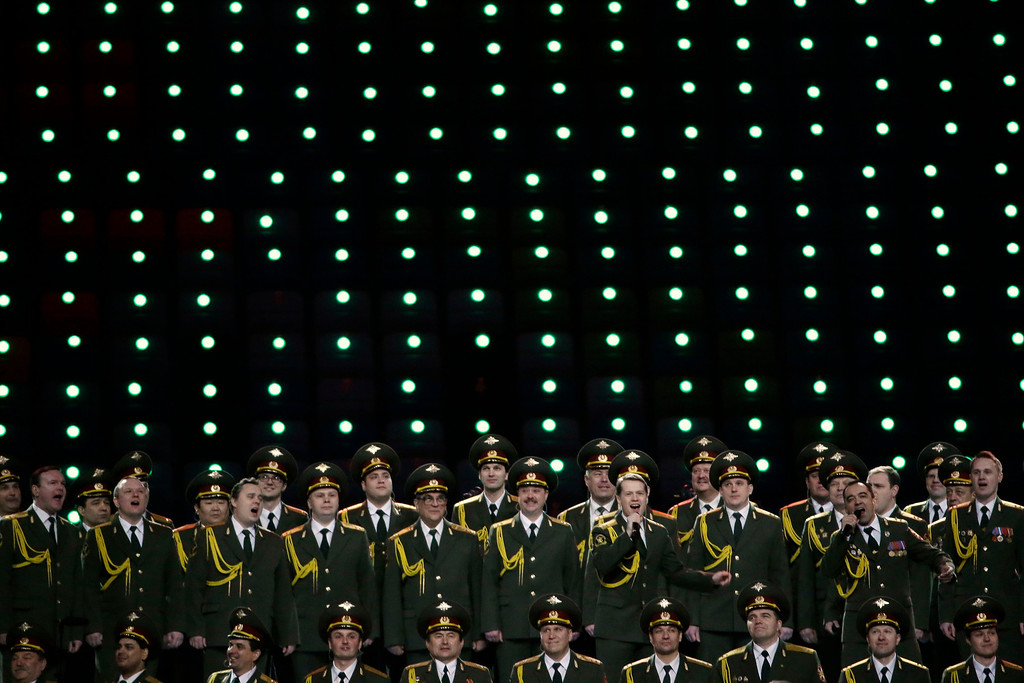 . The Russian Interior Ministry choir perform prior to the opening ceremony of the 2014 Winter Olympics in Sochi, Russia, Friday, Feb. 7, 2014. (AP Photo/Mark Humphrey)