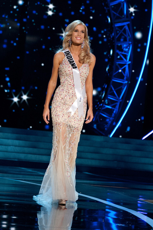 . This photo provided by the Miss Universe Organization, Miss Indiana USA 2013, Emily Hart competes in her evening gown during the 2013 Miss USA Competition Preliminary Show  in Las Vegas  on Wednesday June 12, 2013.  She will compete for the title of Miss USA 2013 and the coveted Miss USA Diamond Nexus Crown on June 16, 2013.  (AP Photo/Miss Universe Organization, Patrick Prather)