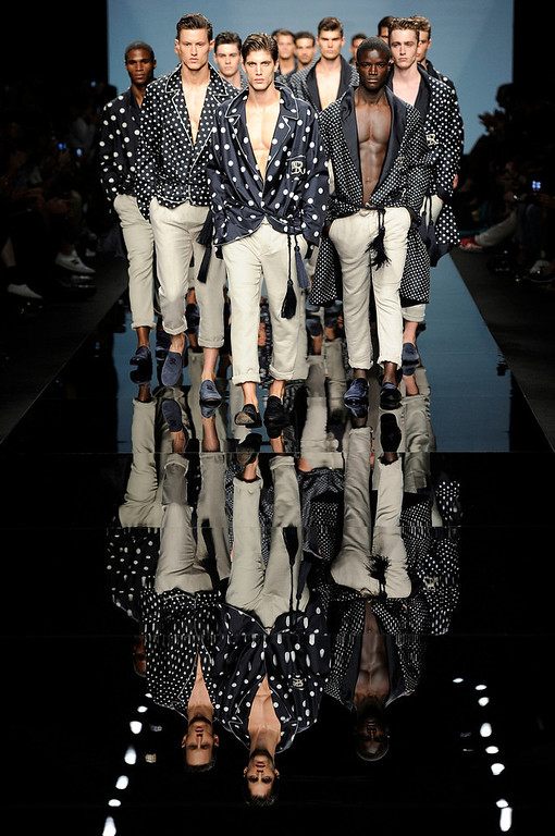 . Models wear creations for Ermanno Scervino men\'s Spring-Summer 2015 collection, part of the Milan Fashion Week, unveiled in Milan, Italy, Tuesday, June 24, 2014. (AP Photo/Giuseppe Aresu)