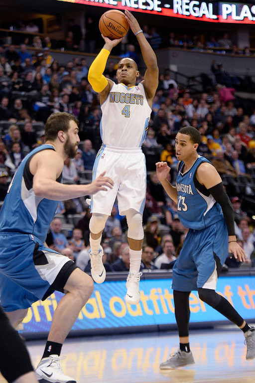 . Randy Foye (4) of the Denver Nuggets shoots against the Minnesota Timberwolves during the first quarter at the Pepsi Center.  . (Photo By AAron Ontiveroz/The Denver Post)