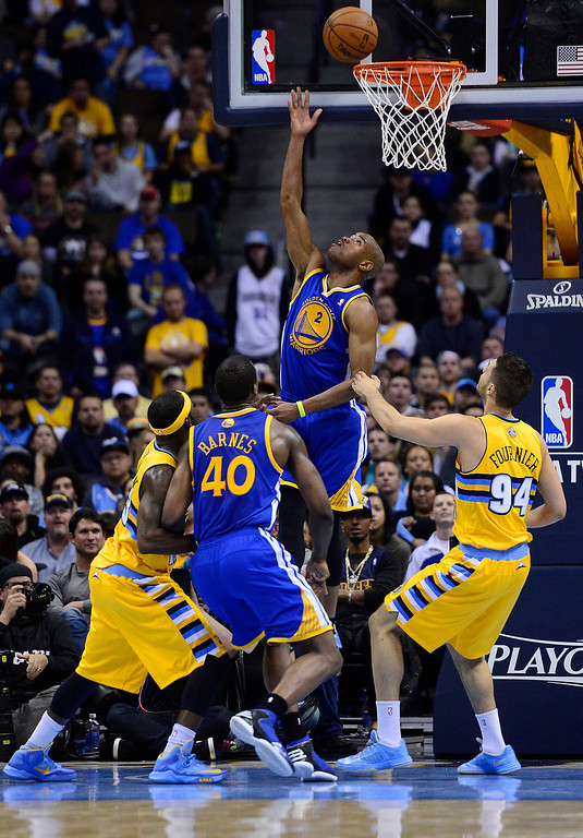 . DENVER, CO. - APRIL 23: Golden State Warriors point guard Jarrett Jack (2) puts up a shot in the fourth quarter. The Denver Nuggets took on the Golden State Warriors in Game 2 of the Western Conference First Round Series at the Pepsi Center in Denver, Colo. on April 23, 2013. (Photo by AAron Ontiveroz/The Denver Post)