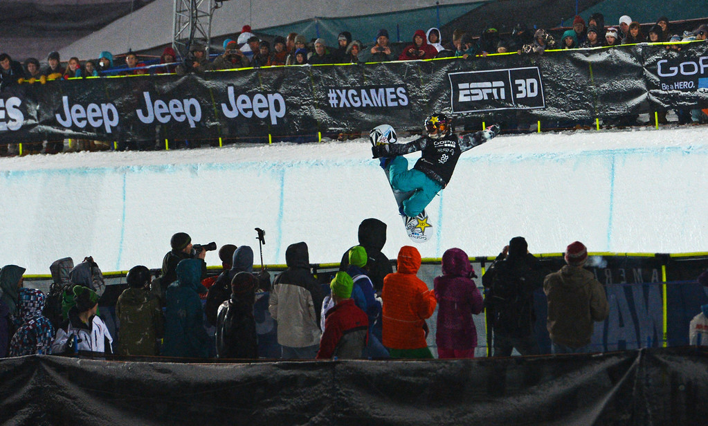 . ASEN, CO. - JANUARY 26:  Elena Hight goes big during the Women\'s Snowboard SuperPipe Final, January 26, 2013, at the 2013 Winter X Games at Buttermilk Mountain in Aspen. Hight got second place in the event. (Photo By RJ Sangosti / The Denver Post)