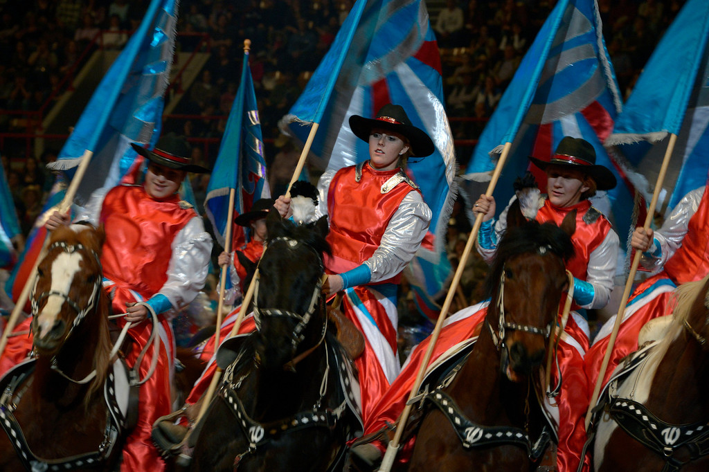 . DENVER, CO- JANUARY 27:   The Westernaires perform during the rodeo. The final day of the 2013 National Western Stock show was Sunday, January 27th.  One of the big events for the day was the PRCA Pro Rodeo finals in the Coliseum.  The event featured bareback riding, steer wrestling, team roping, saddle bronc riding, tie down roping, barrel racing and bull riding.  (Photo By Helen H. Richardson/ The Denver Post)