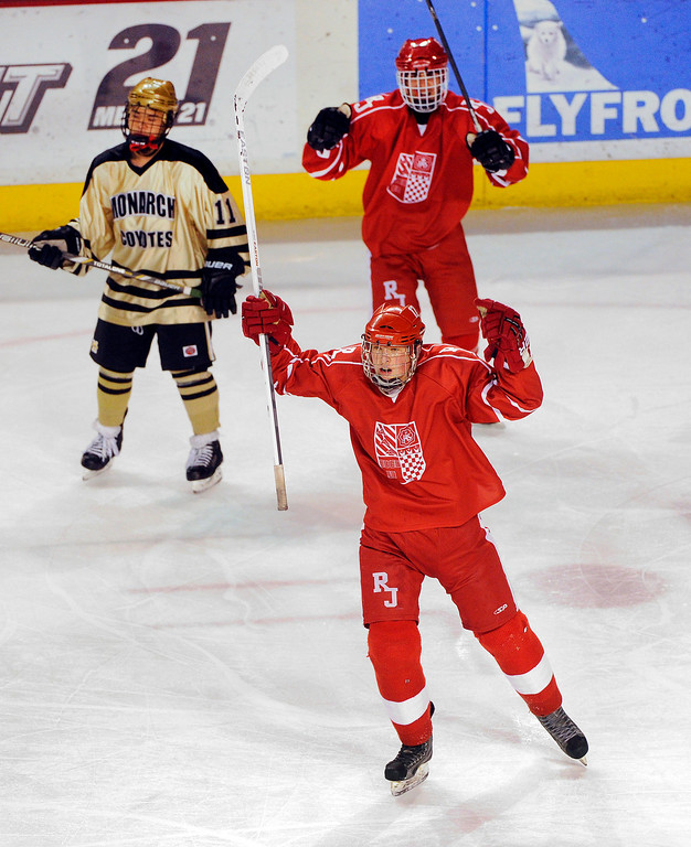 . DENVER, CO. - FEBRUARY 28: Raiders forward Grant Johnson got the game\'s first goal early in the first period. Monarch High School met Regis Jesuit Thursday night, February 28, 2013 in a semifinal match in the Colorado State Ice Hockey Championships at Magness Arena in Denver.  (Photo By Karl Gehring/The Denver Post)