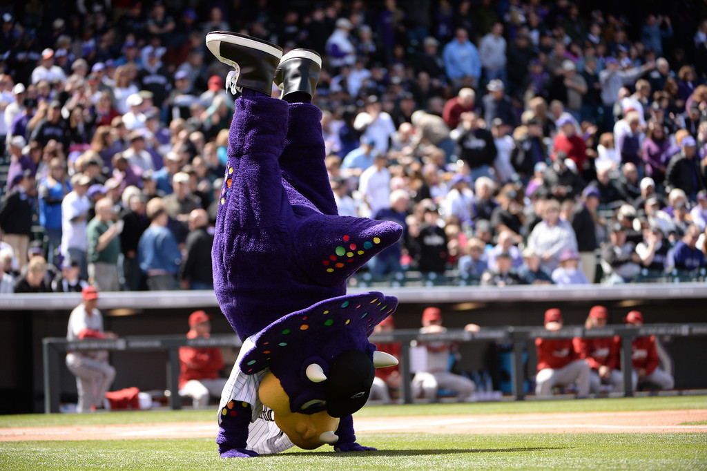. Dinger, the Colorado Rockies mascot performs before the game. (Photo by Hyoung Chang/The Denver Post)