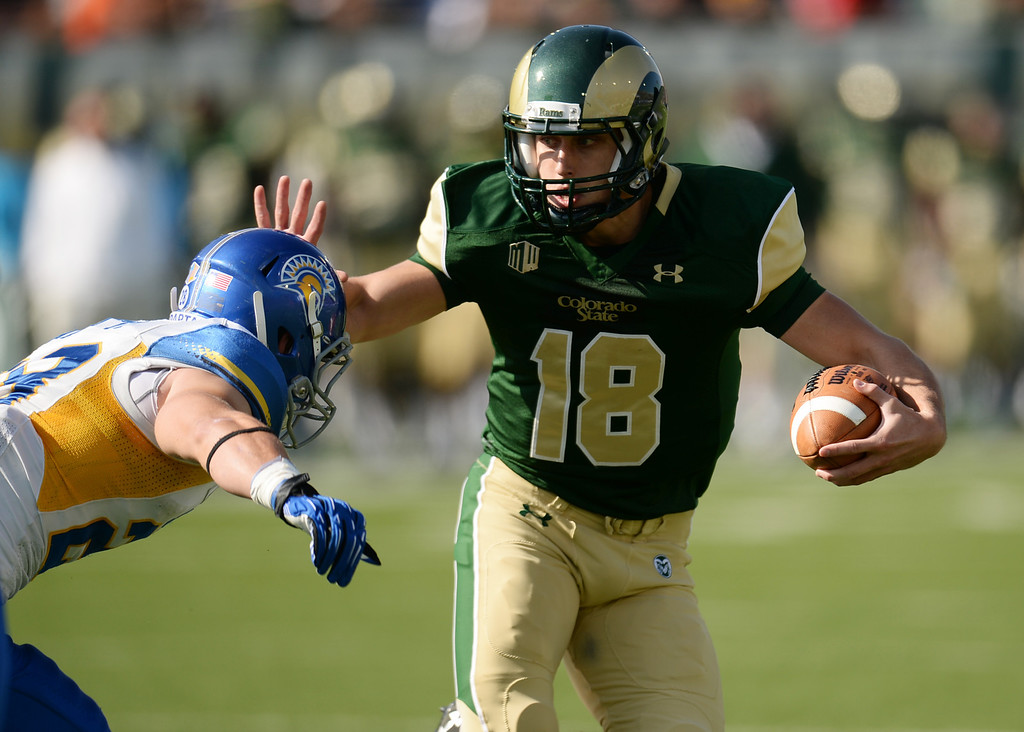 . FORT COLLINS, CO - OCTOBER 12 : Garrett Grayson of Colorado State (18) is in action during the 1st half of the game against San Jose State at Hughes Stadium. Fort Collins. Colorado. October 12, 2013. San Jose won 34-27. (Photo by Hyoung Chang/The Denver Post)