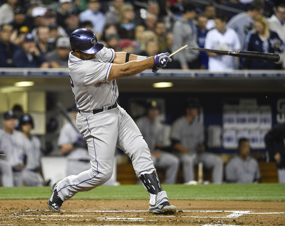 . SAN DIEGO, CA - APRIL 15:  Wilin Rosario of the Colorado Rockies breaks his bat as he hits a single during the second inning of a  baseball game against the San Diego Padres at Petco Park April 15, 2014 in San Diego, California.  All uniformed team members are wearing jersey number 42 in honor of Jackie Robinson Day.  (Photo by Denis Poroy/Getty Images)