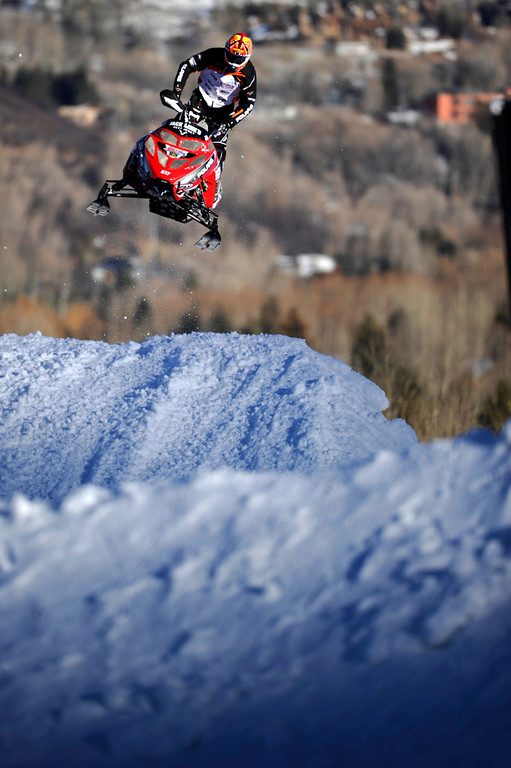 . ASPEN, CO - January 27: Ross Martin catches air during the snowmobile SnoCross final at Winter X Games Aspen 2013 at Buttermilk Mountain on Jan. 27, 2013, in Aspen, Colorado. Martin finished second overall. (Photo by Daniel Petty/The Denver Post)
