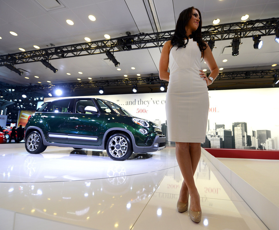 . The 2014 Fiat 500L on display during the second  press preview day at the New York International Auto Show March 28, 2013 in New York.   TIMOTHY A. CLARY/AFP/Getty Images