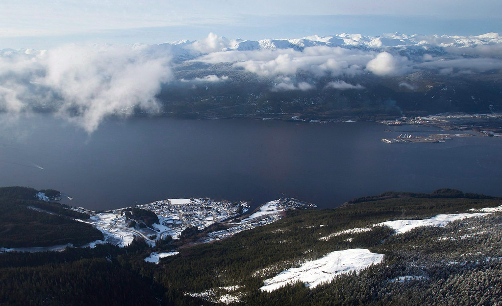 . The Haisla First Nation\'s Kitimaat Village is seen in an aerial view along the Douglas Channel near Kitimat, B.C., on Jan. 10, 2012.    (AP Photo/The Canadian Press, Darryl Dyck)