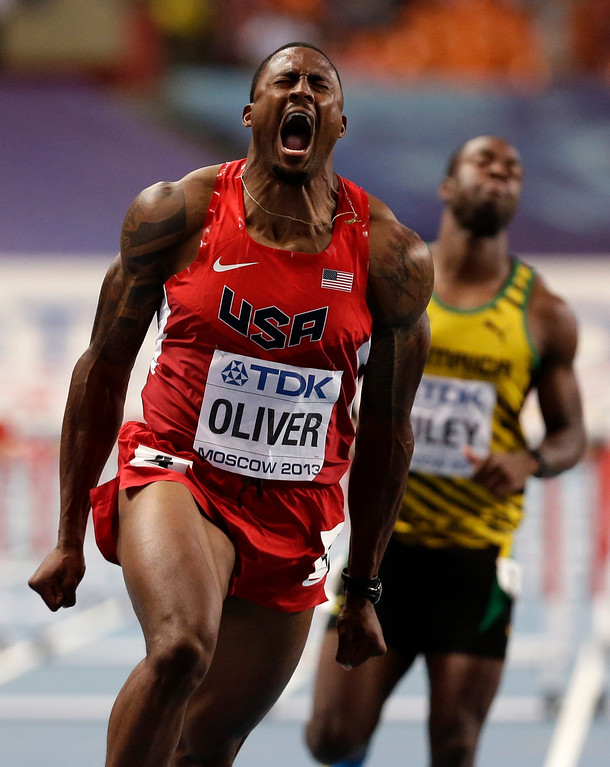 . United States\' David Oliver reacts as he wins the men\'s 110-meter hurdles final at the World Athletics Championships in the Luzhniki stadium in Moscow, Russia, Monday, Aug. 12, 2013. (AP Photo/Anja Niedringhaus)