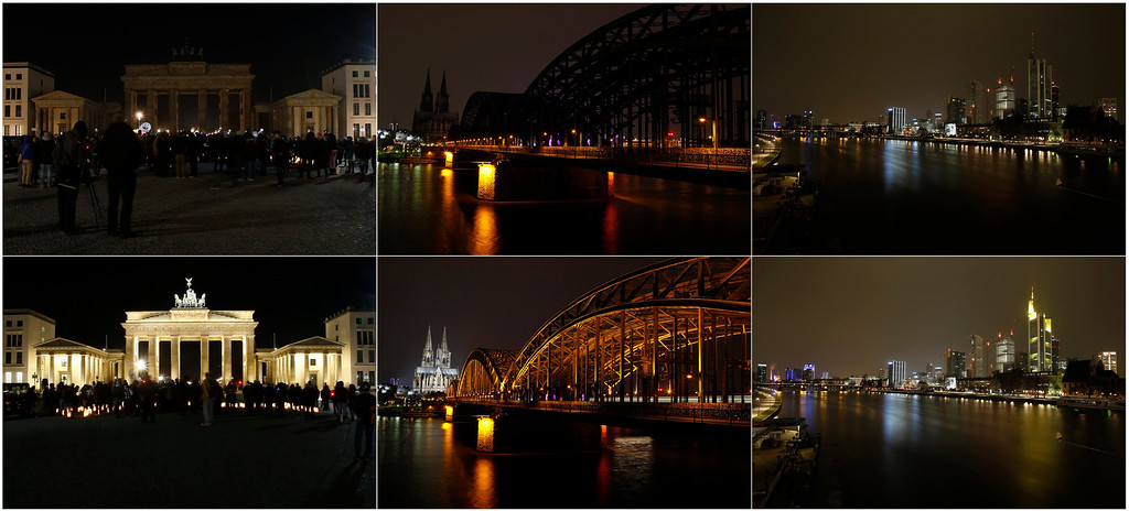 . Earth Hour is observed at Berlin\'s Brandenburg Gate, the Cologne Cathedral and in Frankfurt\'s city centre (L-R) during (top) and before the lights were switched off, in this combination picture taken March 23, 2013. Earth Hour, when everyone around the world is asked to turn off the lights for an hour from 8.30 pm local time, is meant as a show of support for tougher actions to combat climate change.   REUTERS/Tobias Schwarz/Wolfgang Rattay/Lisi Niesner