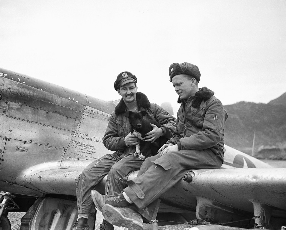 . Lt. J.J. Schneider, of 2535 Depts St., St. Louis, sits on wing of fighter plane with Capt. J.B. Hannon, right, 7337 Douglas St., Omaha, Nebr., at an airfield in Korea on Jan. 15, 1951. Between them is \'Admiration Dog,\' mascot of their wing, who flies with the airmen. Lt. Schneider has completed 100 missions in Korea since on June 27. Two days after outbreak of the war. He will soon return to the U.S. and plans to wed Miss Betty Rosholm, who was \'Miss Omaha of 1950\'. Capt. Hannon was shot down in World War 2 over Germany, and also was shot down over Korea but escaped capture. (AP Photo/JJim Pringle