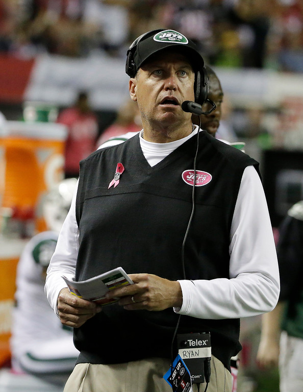. New York Jets head coach Rex Ryan watches a lay against the Atlanta Falcons during the second half of an NFL football game, Monday, Oct. 7, 2013, in Atlanta. (AP Photo/David Goldman)