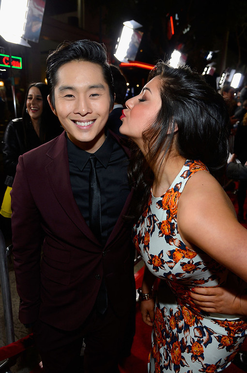 """. Actors Justin Chon and Raquael Torres attend Relativity Media\'s \""""21 and Over\"""" premiere at Westwood Village Theatre on February 21, 2013 in Westwood, California.  (Photo by Frazer Harrison/Getty Images for Relativity Media)"""