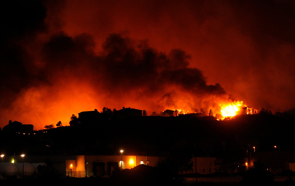 . The Waldo Canyon fire made a run into Colorado Springs Tuesday night, June 26, 2012 burning homes. Karl Gehring/The Denver Post
