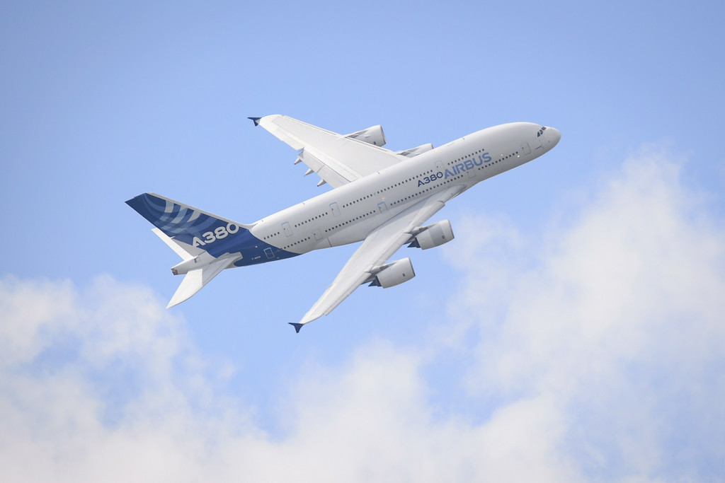 . The Airbus A380 is displayed at the Farnborough air show in Hampshire, England, on July 15, 2014.  The biennial event sees leading companies from the aviation industry showcase their latest technology.  AFP PHOTO / LEON NEAL/AFP/Getty Images