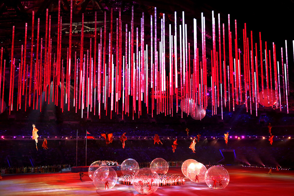 . Ballet Dancers perform as performers representing \'Firebirds\' fly above the arena during the Opening Ceremony of the Sochi 2014 Paralympic Winter Games at Fisht Olympic Stadium on March 7, 2014 in Sochi, Russia.  (Photo by Ian Walton/Getty Images)