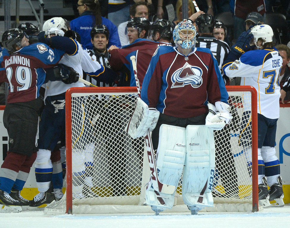 . Colorado goalie Semyon Varlamov turned his back to the skirmish between players going on behind his net in the first period. The St. Louis Blues defeated the Colorado Avalanche 2-1 at the Pepsi Center Saturday afternoon, March 8, 2014 in Denver, Colorado. (Photo by Karl Gehring/The Denver Post)