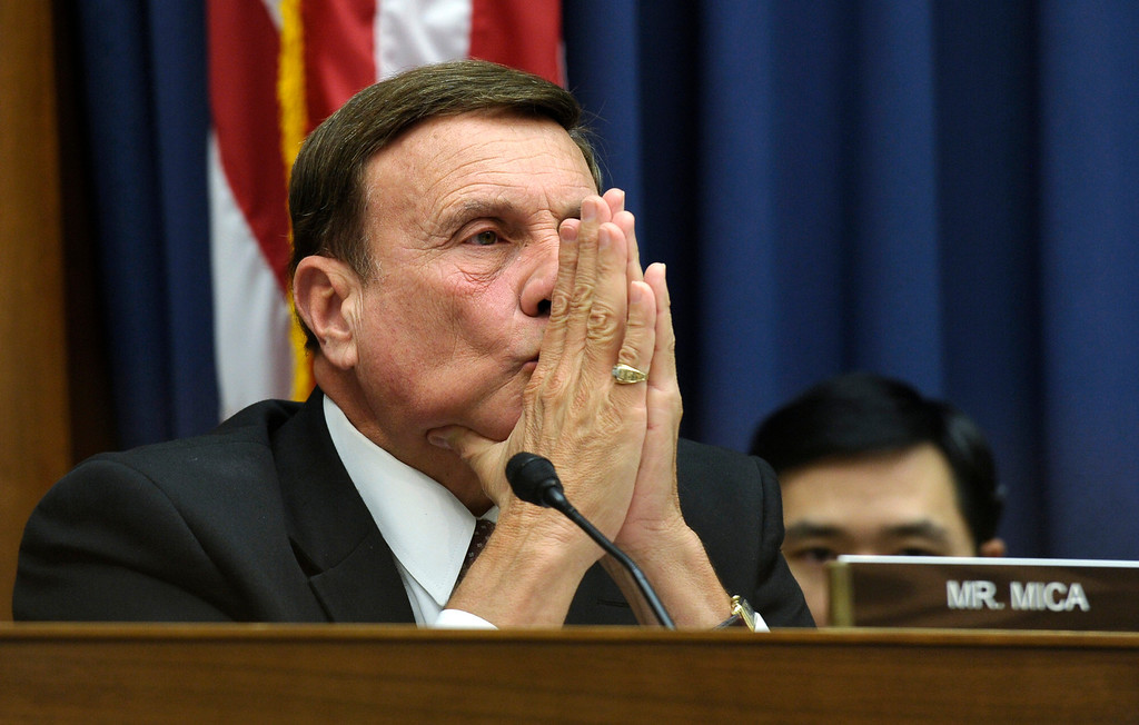 . Rep. John Mica, R-Fla., listens during a joint hearing with the House Natural Resources Committee and the House Oversight and Government Reform Committee on Capitol Hill in Washington, Wednesday, Oct. 16, 2013. The hearing was looking at who was to blame for the closure of national parks because of the current government shutdown. (AP Photo/Susan Walsh)