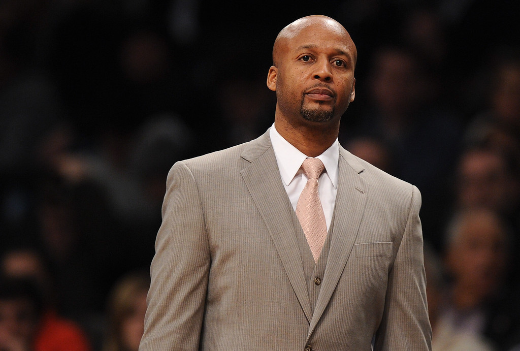 . NEW YORK, NY - DECEMBER 03:  Denver Nuggets head coach Brian Shaw looks on during the second half against the Brooklyn Nets at Barclays Center on December 3, 2013 in the Brooklyn borough of New York City. The Nuggets defeat the Nets 111-87.  (Photo by Maddie Meyer/Getty Images)
