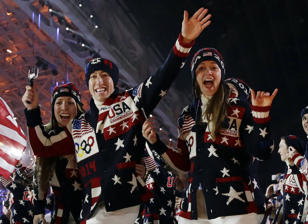 . The United States team arrives during the opening ceremony of the 2014 Winter Olympics in Sochi, Russia, Friday, Feb. 7, 2014. (AP Photo/Patrick Semansky)