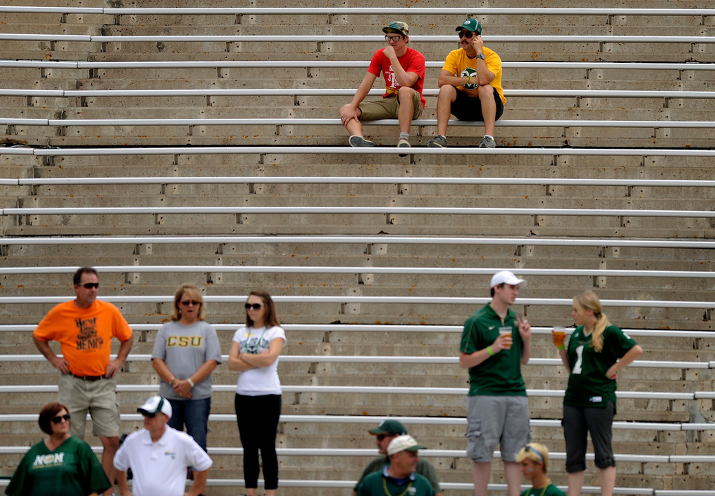 . FORT COLLINS, CO. - SEPTEMBER 14: The Ram\'s low attendance Saturday could be a result of flood damage in the area. The Colorado State University football team defeated Cal Poly at Hughes Stadium in Fort Collins Saturday afternoon, September 14, 2013.  It was the Rams\' first home game and first win of the season. Photo By Karl Gehring/The Denver Post