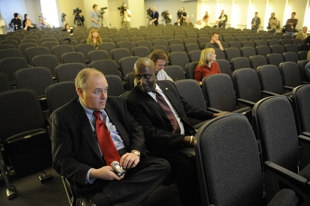 . Dean Singleton and Greg Moore wait for the start of the press conference at the DNA Building February 26, 2009. E.W. Scripps Company announced that the Rocky Mountain News, in Denver, Colo., will close and Friday, February 27, 2009, will be the final edition of the newspaper. Craig F. Walker / The Denver Post