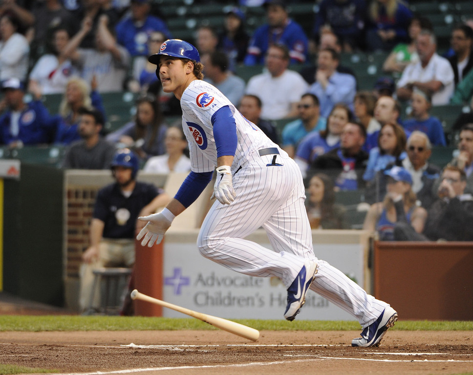 . Anthony Rizzo #44 of the Chicago Cubs hits a double against the Colorado Rockies during the first inning on May 15, 2013 at Wrigley Field in Chicago, Illinois.   (Photo by David Banks/Getty Images)