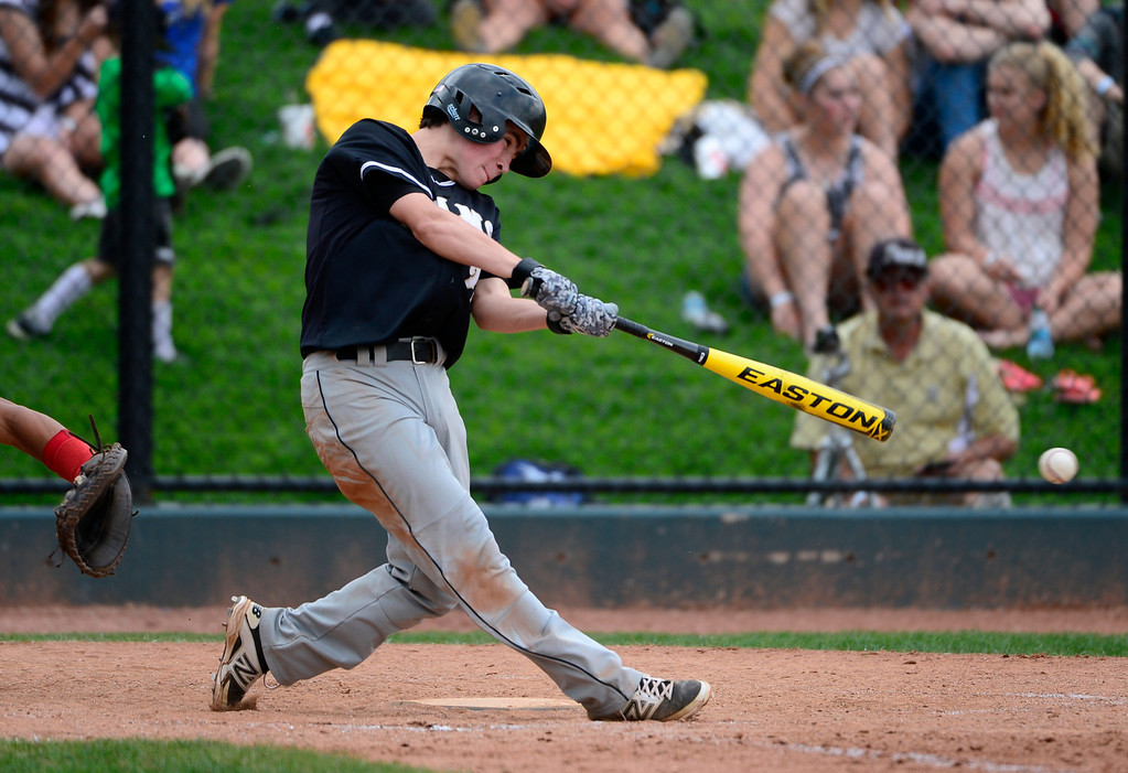 . LAKEWOOD, CO - MAY 23: Green Mountain\'s Anthony Martinez gets a hit in the 5th inning. The Durango Demons take on the Green Mountain Rams in the 4A Baseball State Semi-Final Championships. (Kathryn Scott Osler, The Denver Post)