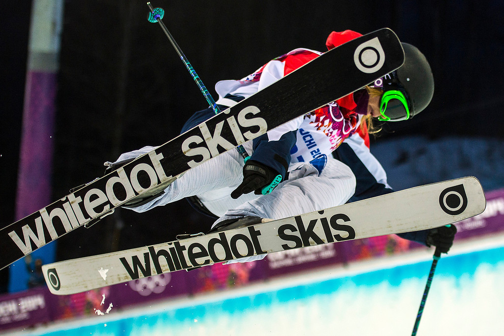 . KRASNAYA POLYANA, RUSSIA  - JANUARY 20: Great Britain\'s Emma Lonsdale competes in the Ladies\' Ski Halfpipe at Rosa Khutor Extreme Park during the 2014 Sochi Olympics Thursday February 20, 2014. Lonsdale did not make the final round.  (Photo by Chris Detrick/The Salt Lake Tribune)