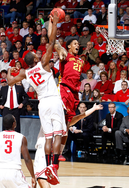 . Will Clyburn #21 of the Iowa State Cyclones goes up for a dunk against Sam Thompson #12 of the Ohio State Buckeyes in the first half during the third round of the 2013 NCAA Men\'s Basketball Tournament at UD Arena on March 24, 2013 in Dayton, Ohio.  (Photo by Joe Robbins/Getty Images)