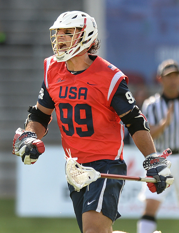 . COMMERCE CITY, CO - JULY 17: US midfielder Paul Rabil (99) celebrated the first goal of the game. Team USA faced Australia in a FIL World Championship semifinal game Thursday night, July 17, 2014.  Photo by Karl Gehring/The Denver Post