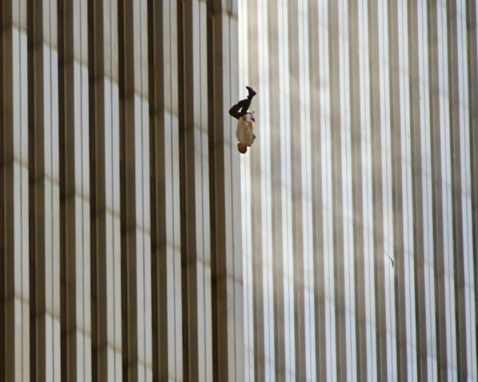 . A person falls from the north tower of New York\'s World Trade Center in this Sept. 11, 2001 file photo, after terrorists crashed two hijacked airliners into the World Trade Center and brought down the twin 110-story towers.  (AP Photo/Richard Drew, File