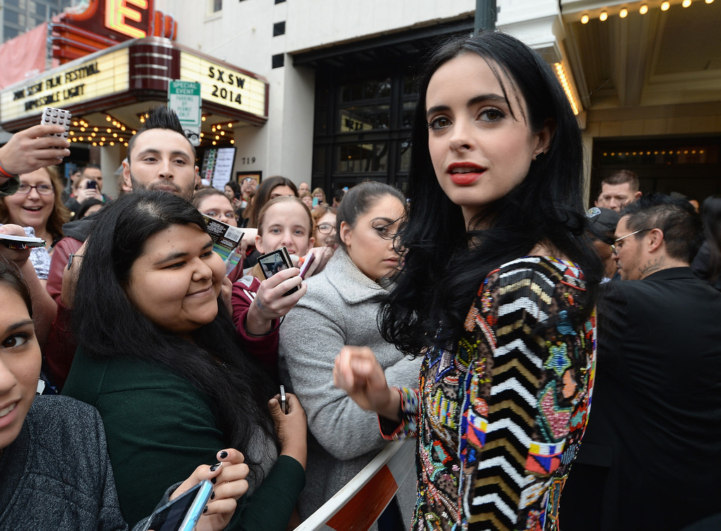 ". Actress Krysten Ritter arrives at the premiere of ""Veronica Mars\"" during the 2014 SXSW Music, Film + Interactive Festival at the Paramount Theatre on March 8, 2014 in Austin, Texas.  (Photo by Michael Buckner/Getty Images for SXSW)"