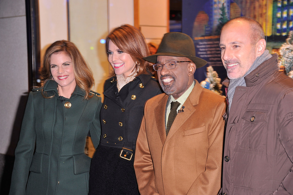 . From left, Journalist Natalie Morales, Journalist Savannah Guthrie, TV Personality Al Roker and Journalist Matt Lauer arrive during 81st Annual Rockefeller Center Christmas Tree Lighting Ceremony at Rockefeller Center on December 4, 2013 in New York City.  (Photo by Stephen Lovekin/Getty Images)