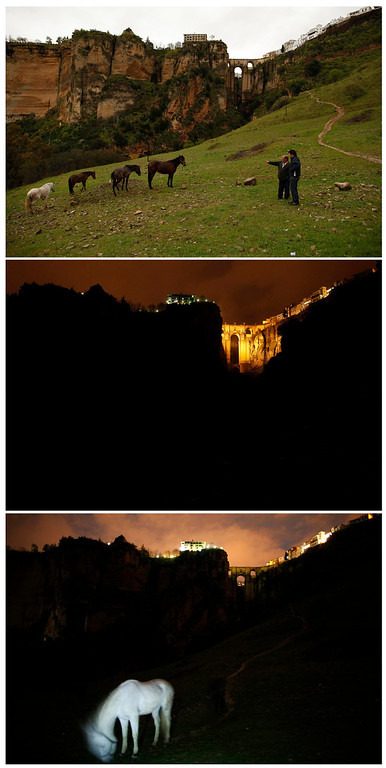 ". A combination photo shows the ""Puente Nuevo\"" (New Bridge) in the day (top), at night (C) and during Earth Hour in Ronda, near Malaga March 23, 2013. Earth Hour, when everyone around the world is asked to turn off lights for an hour from 8.30 p.m. local time, is meant as a show of support for tougher actions to confront climate change. REUTERS/Jon Nazca"