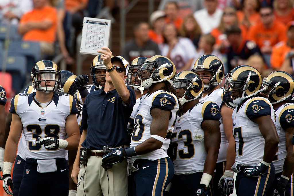 . DENVER, CO - AUGUST 24: The St. Louis Rams special teams unit checks their assignments during the first half of action of an NFL preseason game at Sports Authority Field at Mile High on August 24, 2013. This is the third game of the preseason for the Broncos. (Photo by AAron Ontiveroz/The Denver Post)