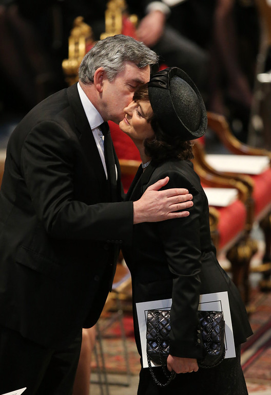 . Former Prime Minister Gordon Brown and Cherie Blair attend the Ceremonial funeral of former British Prime Minister Baroness Thatcher at St Paul\'s Cathedral on April 17, 2013 in London, England. Dignitaries from around the world today join Queen Elizabeth II and Prince Philip, Duke of Edinburgh as the United Kingdom pays tribute to former Prime Minister Baroness Thatcher during a Ceremonial funeral with military honours at St Paul\'s Cathedral. Lady Thatcher, who died last week, was the first British female Prime Minister and served from 1979 to 1990.  (Photo by Christopher Furlong/Getty Images)