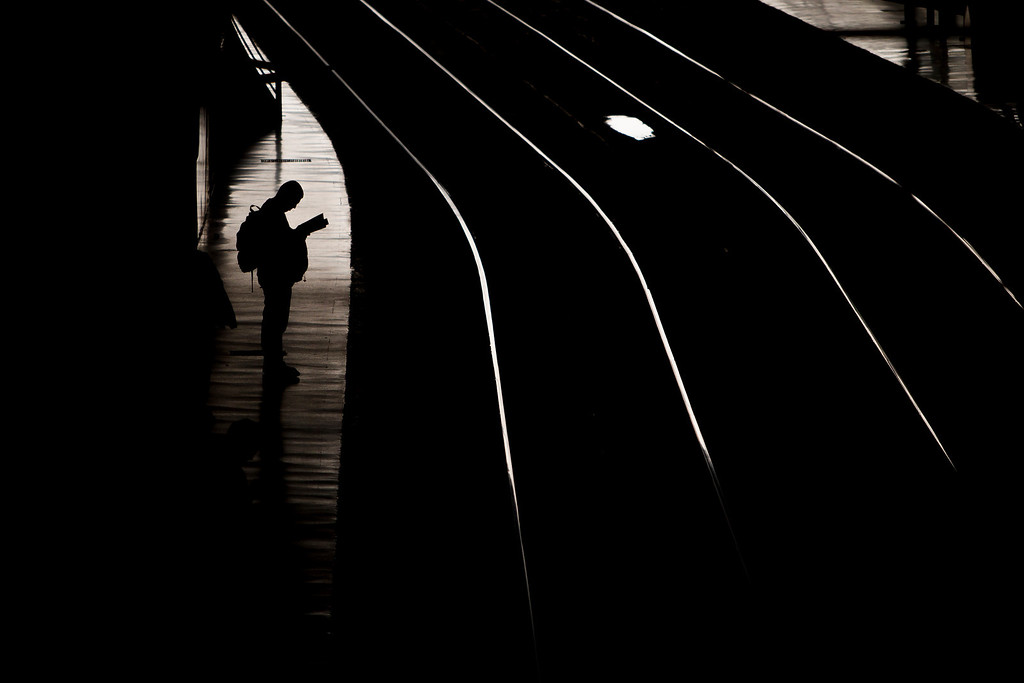 . A man waits for the train in Atocha train station in Madrid, Spain, Tuesday, March 11, 2014, during the remembrance of those killed and injured in the Madrid train bombings marking the 10th anniversary of Europe\'s worst Islamic terror attack. The attackers targeted four commuter trains with 10 shrapnel-filled bombs concealed in backpacks during morning rush hour on March 11, 2004. (AP Photo/Andres Kudacki)