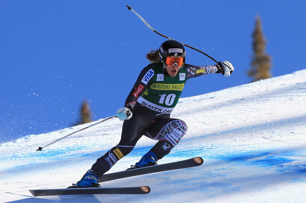 . Leanne Smith skis in the ladies\' downhill on Raptor at the Audi FIS Alpine World Cup at Beaver Creek on November 29, 2013 in Beaver Creek, Colorado. Smith skied off course and did not finish.  (Photo by Doug Pensinger/Getty Images)