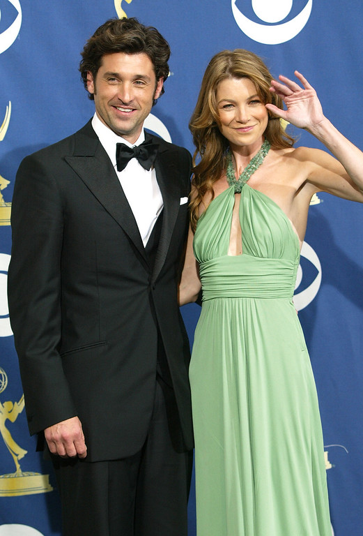 . Actors Patrick Dempsey and Ellen Pompeo pose in the press room at the 57th Annual Emmy Awards held at the Shrine Auditorium on September 18, 2005 in Los Angeles, California.  (Photo by Frederick M. Brown/Getty Images)
