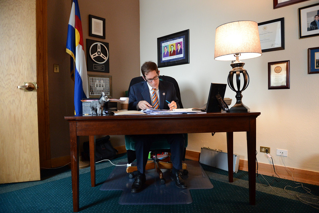 . House Speaker Mark Ferrandino, D-Denver, prepares his remarks before the vote on civil union at the state capitol in Denver, CO March 12, 2013. (Photo By Craig F. Walker/The Denver Post)