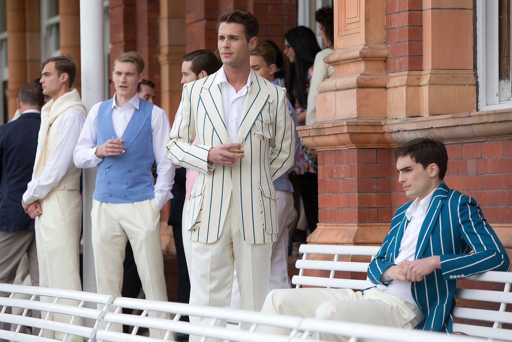 . Models wear creations by Savile Row & St James\'s designers at a fashion installation during London Men\'s spring summer fashion collections 2014, at Lord\'s cricket ground, in London, Monday, June 17, 2013. (Photo by Joel Ryan/Invision/AP)