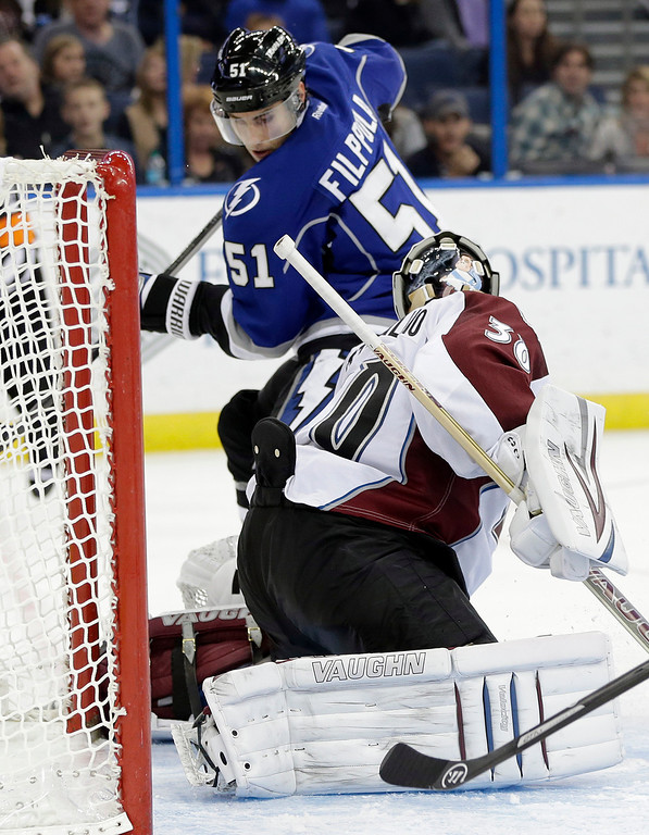 . Tampa Bay Lightning center Valtteri Filppula (51), of Finland, scores past Colorado Avalanche goalie Sami Aittokallio (30), also of Finland, during the second period of an NHL hockey game Saturday, Jan. 25, 2014, in Tampa, Fla. (AP Photo/Chris O\'Meara)